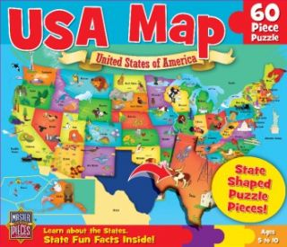 Masterpieces USA Map Kids Jigsaw Puzzle   60 State Shaped Pieces