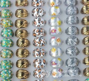Lots Printing Plastic Childrens Rings Fashion Jewelry Mix Design ZR057