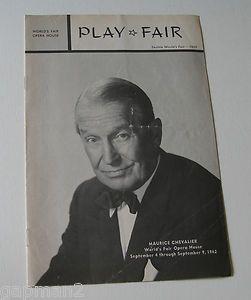 Maurice Chevalier 1962 Seattle Worlds Fair Opera House Play Fair