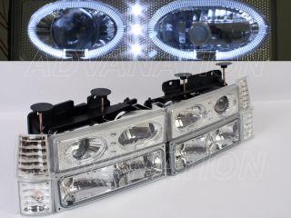 90 92 GMC Tahoe Yukon Chrome EURO Projector Halo Ring LED +Bumper
