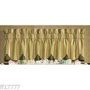 Waverly Yatch Club Stripe Chatham Sage Green Drapery Valance 80 x 15