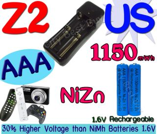 AAA Blue 1150mWh NiZn 1.6V Volt Rechargeable Battery US Charger Z2