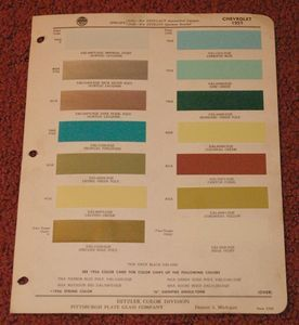 1957 Ditzler Chevrolet Paint Chips Paint Color Samples Sheet