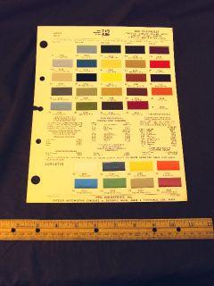 1975 75 Chevrolet Corvette Camaro Colors Paint Chips