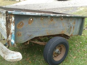 1955 66 GMC,CHEVY TRUCK BED, Complete, Used as utility trailer