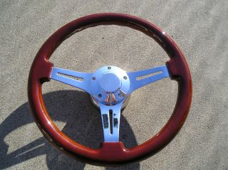 Mahogany wood steering wheel 14 + Adapter 4 chevy Ididit GM Jeep