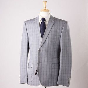 ROBERTO CAVALLI CLASS Gray Blue Check Blazer Sport Coat Slim Fit 44 R