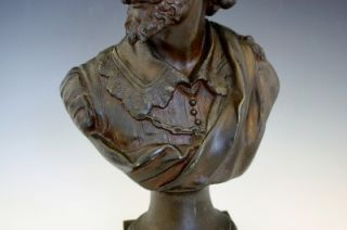 BRONZE PATINA BUST OF A GENTLEMAN WITH A BEARD & HAT KING CHARLES I
