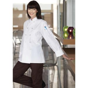 Womens Chef Coats White Long Sleeves Plastic Buttons IRR