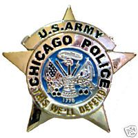 Chicago Police U S Army Badge Lapel Tie Pin
