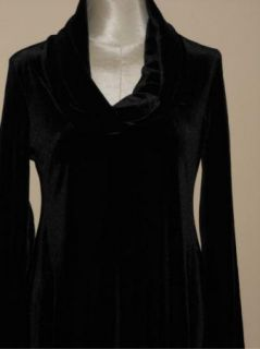 Chelsea Theodore Black Stretch Velvet Asymmetic Tunic Top s $79