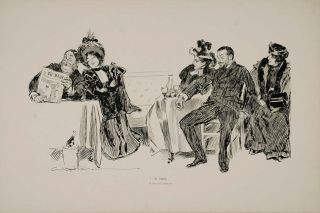 art rare 1894 charles dana gibson girl paris cafe americain original