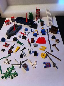 65 PIECES LEGO MINIFIG ACCESSORIES PART BULK LOT ASSORTMENT BOAT FLAG