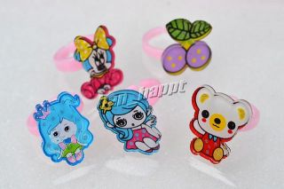 Jewelry 200pcs Cartoon Resin Lucite Children Kids Rings Jewelry
