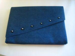 Charles Jourdan Rhinestone Button Blue Denim Clutch Purse Handbag