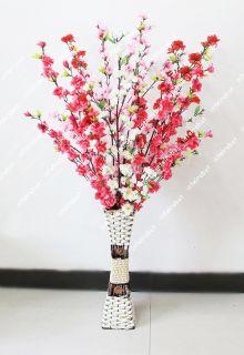 49 Artificial Silk Flowers Peach Blossom Cherry Spring Spray Branch