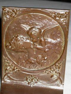 Bronze Lady Angel Wing Cherub Statue Garden Sculpture Bookends
