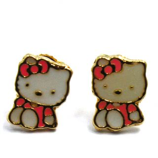 GF Hello Kitty Earrings Orange Enamel Baby Girl Childs Push Back Stud