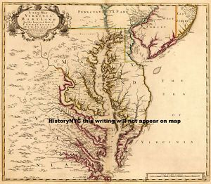 1719 Beautiful Colonial Map Chesapeake Bay