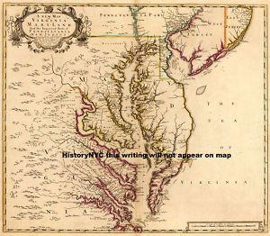 1719 Beautiful Colonial Map Chesapeake Bay
