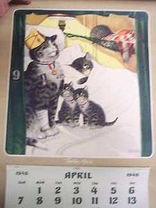 VTG 1946 CHESAPEAKE & OHIO RAILWAY CALENDAR CHESSIE CAT WWll CHARLES E