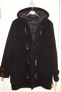 Men Next Wool Blend Navy Blue Duffle Coat with Hood Toggle Close Small