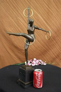 Signed Duveries Juggler Bronze Marble Sculpture Statue Figurine Figure