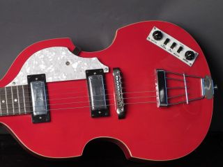 Hofner 6 String Violin Electric Guitar   Red Gloss Finish