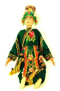 Antique Chinese Opera Doll Sheng Male Hand Embroidered Robe Asian