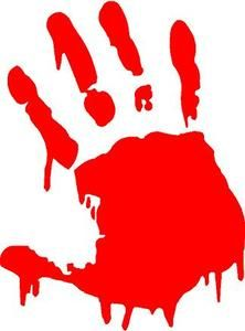 Red Vinyl Decal Handprint Bloody Zombie Sticker Fun Truck Window Hand