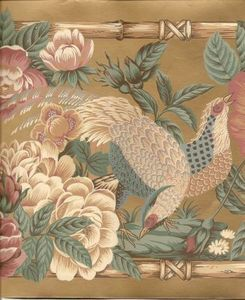 Chinese Oriental Bird Flower Bamboo Wallpaper Border Golden