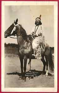 CHIPPEWA INDIAN WOMAN PRINCESS SILVER STAR COSTUME ON HORSE CASS LAKE