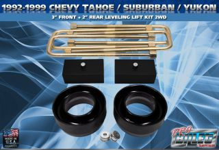 1992 1999 Chevy Tahoe Suburban Yukon 3 Front 2 Rear Lift Kit 2WD Pro