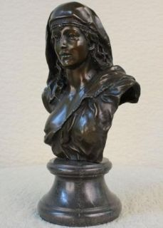 Real Bronze Metal Large Bust Elegant Victorian Female Lady Classical