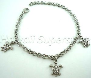 Small Turtle Charm Bracelet Anklet Silver CBR12