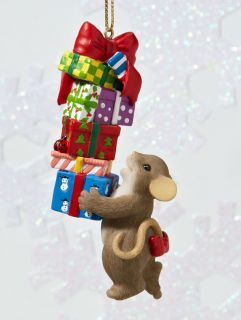 CHARMING TAILS   STACKS OF JOY   Christmas Presents Ornament
