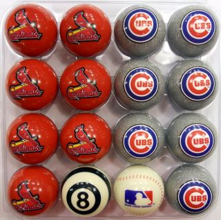 St. Louis Cardinals and Chicago Cubs Rival Pool Ball Set   Red / Grey