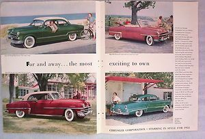 Vintage 1953 Chrysler New Yorker Dodge Plymouth Cranbrook Convertible