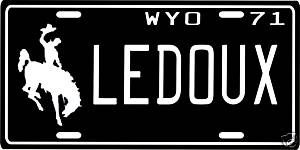 Chris Ledoux Wyoming Cowboy 1971 License Plate