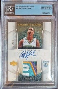 CHRIS PAUL 2005 06 EXQUISITE ROOKIE RC AUTO SICK LOGO PATCH #/99 BGS