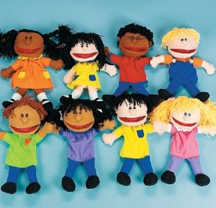 Multicultural Children Glove Hand Puppets Set Preschool