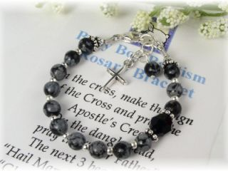 Precious baby boy baptism rosary bracelet designed with genuine