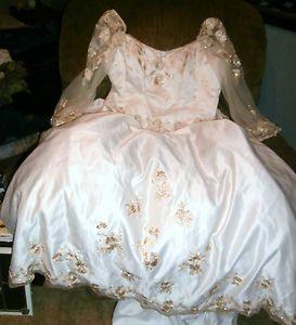 CHRISTINA WU Sz 28 Wedding GOWN DRESS Antique Gold Beading Train