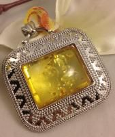 Pressed Baltic Amber Sunshine Yellow Gold Large Square Pendant Chain