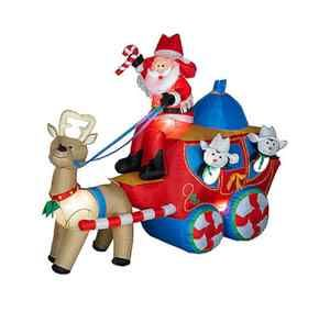 Airblown Christmas Stage Coach Scene Christmas Inflatable Lighted