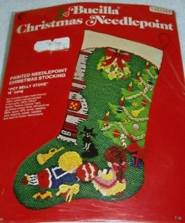 pot bellied stove vintage bucilla christmas stocking needlepoint kit