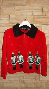 CHRISTOPHER RADKO CHRISTMAS NUTCRACKER RED CARDIGAN SWEATER BEADED
