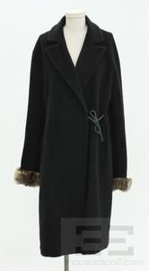 Cinzia Rocca Black Wool Chinchilla Fur Trim Side Tie 3 4 Coat Size 14