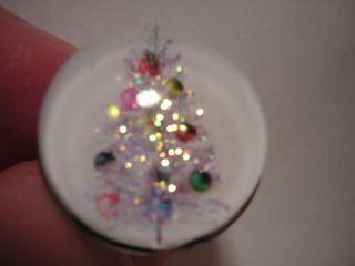 VINTAGE RETRO ALUMINUM SILVER CHRISTMAS TREE BUBBLE CHARM RING