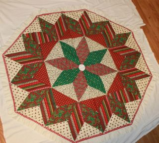 Vintage Christmas Tree Skirt Hand Quilted 59 Diameter